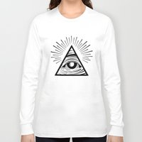 all seeing eye Long Sleeve T-shirts featuring ILLUMINATI ALL SEEING EYE by HAUS OF DEVON