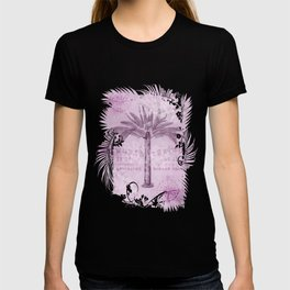 Pink Vintage Palm Tree And Travel Typography Art T-shirt