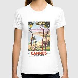 1938 France Cannes Cote D'Azur Travel Poster T-shirt