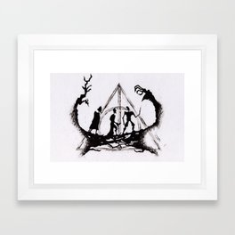 The Three Brothers Inktober Drawing Framed Art Print