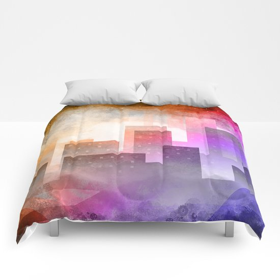 Colorful night digital illustration Comforters