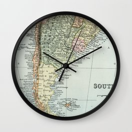 Vintage Map of the South of America Wall Clock