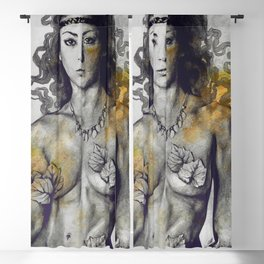 Colony Collapse Disorder: Gold (nude warrior woman with autumn leaves) Blackout Curtain