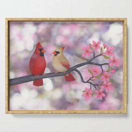 cardinals and crab apple blossoms Serving Tray