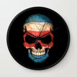 Dark Skull with Flag of Costa Rica Wall Clock