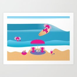 A Dog Family Surf Day Out Art Print