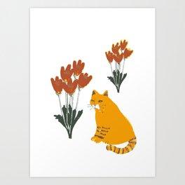 Cat and Flowers I. Art Print