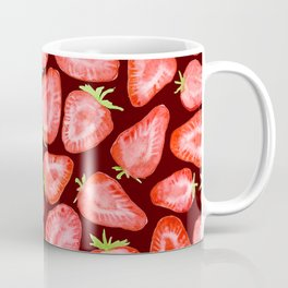 Fresh strawberry slices watercolor dark bg Coffee Mug