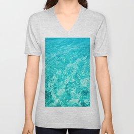 Turquoise Blue Ocean Water Unisex V-Neck