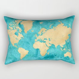 """Teal watercolor and gold world map with countries and states """"Lexy"""" Rectangular Pillow"""