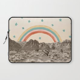 Canyon Desert Rainbow // Sierra Nevada Cactus Mountain Range Whimsical Painted Happy Stars Laptop Sleeve