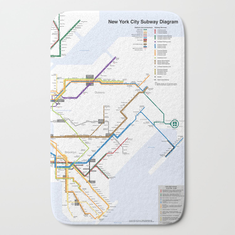 Subway Map 2009.New York Subway Map Bath Mat