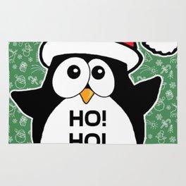 Penguin Christmas Funny Cute Santa Claus Rug