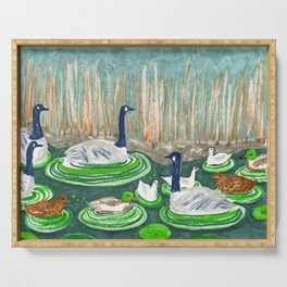 Water Friends drawing by Amanda Laurel Atkins Serving Tray