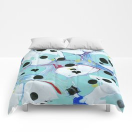 Blue Pebbles with Black Comforters