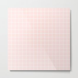 Misty rose - pink color - White Lines Grid Pattern Metal Print