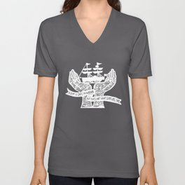 A Ship is Safe in Harbor in Black and White Unisex V-Neck