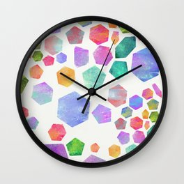Hexagon and Pentagon Gems Wall Clock