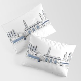 Kansas City Skyline Illustration in Sporting KC Colors Pillow Sham