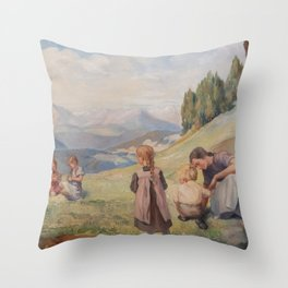 Family image that stands on mountain meadows Throw Pillow
