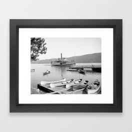 The Sagamore Lands at Roger's Slide Boathouse Framed Art Print