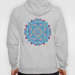 Pink, light blue floral mandala on black Hoody