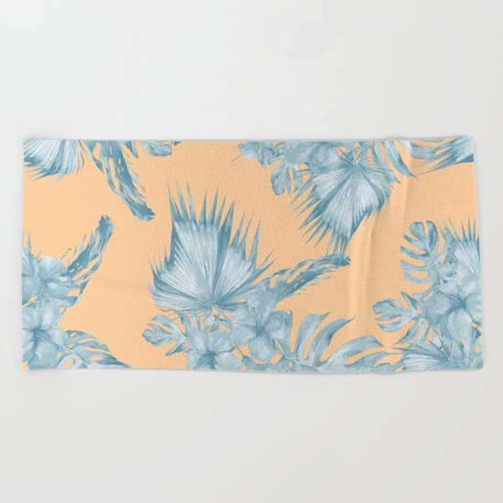 Ocean Blue Palm Leaves on Coral Apricot Beach Towel