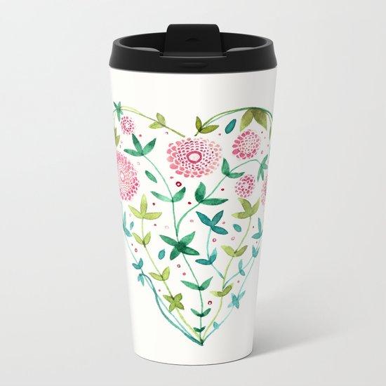 garden heart Metal Travel Mug