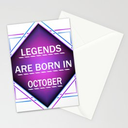 Legends are born in october Stationery Cards