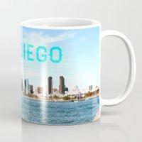 san diego Mugs featuring San Diego  by Natasha Alexandra Englehardt