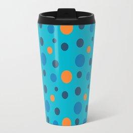 Blue and Orange dots on Blue Travel Mug
