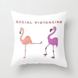 Flamingo Social Distancing Throw Pillow