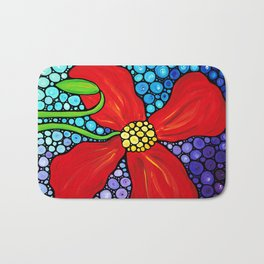 Lady In Red - Big bold beautiful Red poppy by Labor Of Love artist Sharon Cummings. Bath Mat
