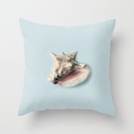Beige and Pink Shell on Aqua Blue Throw Pillow