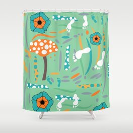 Playful mushroom and flowers Shower Curtain