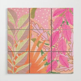 Modern Jungle Plants - Pink Green Purple Wood Wall Art