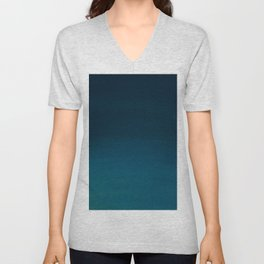 Hand painted navy blue green watercolor ombre brushstrokes Unisex V-Neck