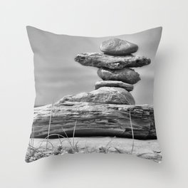 The Cairn in Black and White Throw Pillow