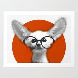 Fennec Fox wearing glasses Art Print