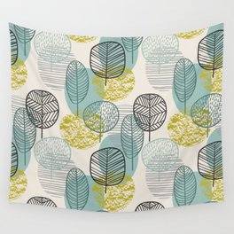 Drawing Autumn Seamless Leaves Pattern Wall Tapestry