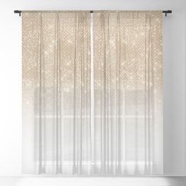 Glamorous Gold Glitter Sequin Ombre Gradient Sheer Curtain