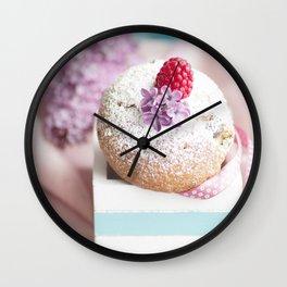 Pink pastel colored muffin stilllfeben Wall Clock