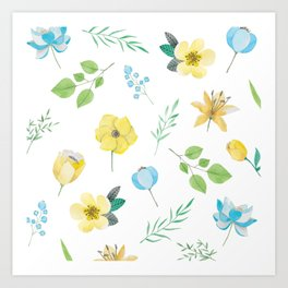 floral pattern with yellow flowers Art Print