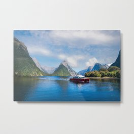 A Boat Cruise at Milford Sound, New Zealand Metal Print