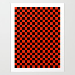 Black and Scarlet Red Checkerboard Art Print
