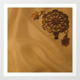 Bronze Butterfly Medallion Art Print