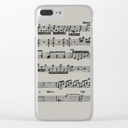 Black distressed stamped music notes light gray grey background Clear iPhone Case