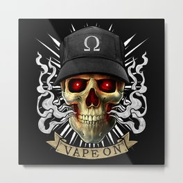 Vaping Skull - Vape On - Cloud Chaser - Vaper Metal Print