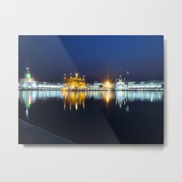 Golden Temple at Night Metal Print