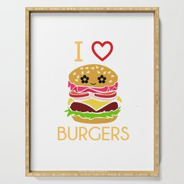 I Love Burgers Hamburger Fast Food Cheese Nuggets Design Serving Tray
